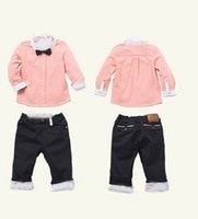 black jeans - Spring Boy Sets Bow Tie Pink Shirts Black Jeans Leisure Long Sleeve Sets T