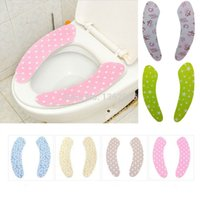 Wholesale Bathroom Warmer Pattern Sticky Toilet Mat Paste type warm potty pad Washable Toilet Seat Cover multicolor Toilet Pad MRL0006