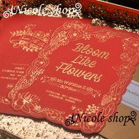 big buckle card - Wedding invitation card Big red flower wedding invitations luxury full stamping process originality design personalized custom