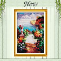 beach path - The beach path among the flowers painting counted print on canvas DMC CT CT NKF Cross Stitch Embroidery kits Needlework Sets