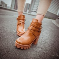 Wholesale Women Boots New Winter Fashion Thick Platforms High Heels Leather Ankle Boots Botas Femininas XWX748