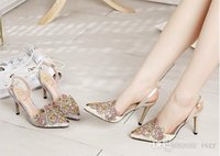 Wholesale 2015 summer star with rhinestone high heeled sandals Baotou fine with the big pointed shoes with diamond openwork lace