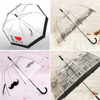 Wholesale Hot Sale Long Handle Transparent Umbrella Creative Semi automatic Sunny and Rainy Umbrella Women Girls Outdoor Tools KT0045