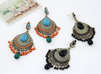Wholesale Bohemian style bronze alloy gem stone water drop bead tassel dangle earrings for women Pairs