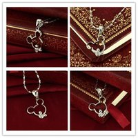 Wholesale Womens Necklace Fashion Womens Sterling Silver and Mickey Model Pendant Hot Lady High grade Allergy Necklace