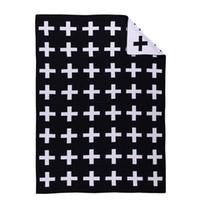 Wholesale hot Cross Rabbit Swan Blanket cotton Knit blanket black and white blanket cmx100cm