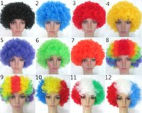 Wholesale Affordable Afro Clown Hair Football Fan Disco Rainbow Party Adult Child Costume Curly Clown Wig Mulit Color Unisex Fancy Dress