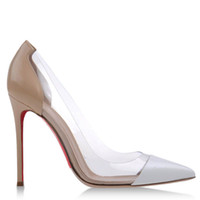 Cheap New Pointed Toe China Cheap Woman Single Shoes Transparent White Brown Stitching Cowhide Leather Shallow Mouth Stiletto Heel 12cm