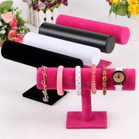 Wholesale New Arrivals Jewelry Bracelet Necklace Stand Rack Organizer Holder Display Velvet Leather Colors IX204