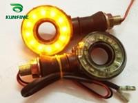 Wholesale 4pcs Universal V Round Pierced Motorcycle Led Turn Signal Indicator Light Lamp Brake light Flasher Blinker Amber Light KF V3023