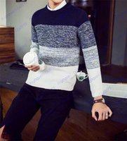 Wholesale Fashion Knitting sweater Korean men s sweaters gradient youth Pullover Men Sweaters
