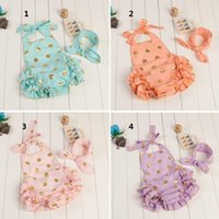 Wholesale Baby Girls Sequin Romper New Cute Gold Polka Dots Ruffle Bow Lace Sleeveless With bow Hair Band One Piece Kid Jumpsuit