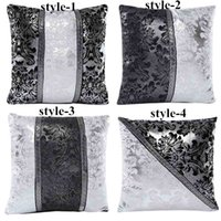 leather sofa leather - Hot Sales Simple Art Black White Splice Imitation leather Pillow Case PX231 Sofa Bed Car Cushion Cover cm cm