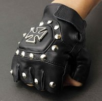 Wholesale Real Leather Chopper Cross Punk Rocker Driving Motorcycle Fingerless Gloves