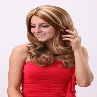 blonde human hair wigs - Long Blonde Curly Wave Human Hair Wigs Inches Synthetic Wigs Brazilian Hair Curly Hair for Fashion Women Brazilian Body Wave