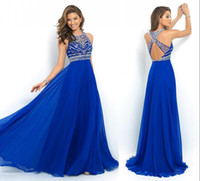 Wholesale In Stock Sheer Royal Blue Chiffon A Line Prom Dresses Cross Back Sparkly Beading Long Evening Runway Celebrity Party Gowns CPS205