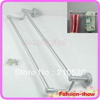 Wholesale Space Aluminum Double Towel Sturdy Bar Holder Shelf Rack For Bathroom New Arrive