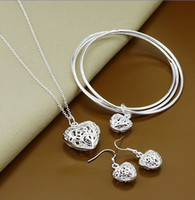 beautiful heart necklace - Fashion Jewelry Set sterling silver hollow heart pendant necklace earrings bangles beautiful Valentine s Day gift