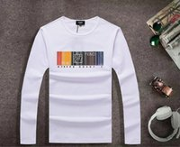 Wholesale 2015 New Autumn Winter Men s T Shirts Cotton Fashion Striped Letter Print Long Sleeve Casual Male s Tees
