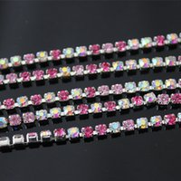 Wholesale 1Row Yard mm ss12 Mix Color Close Claw Chains Rhinestone Cup Chain Rhinestone Trimming for DIY Garment Accessories ZZ281A
