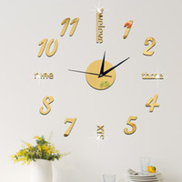 acrylic mirror letters - 2016 DIY Clock Hot Mirror Sticker D Acrylic Wall Stickers Home Decor Europe Large Poster Kitchen House Letter Christmas Wall Clock