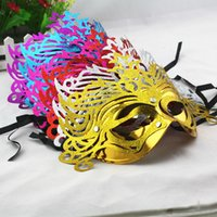 Wholesale gold shining wedding party mask carnival bridal costume masquerade ball prop novelty sexy lady costome mix color half face 314