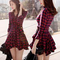 Wholesale 2015 Fall Winter Dress Women Vintage England London Style Plaid Slim Bow Sash Long Sleeve Pleated Red Shirt Dress Skater Dress D12