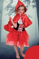 bag hood - performance clothing girl costume Little Red Riding Hood princess dress carnival cosplay dress cloak bag set A1501202