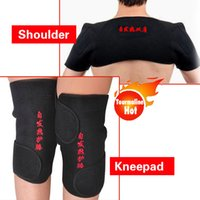 back and shoulder support - 1 pc shoulder brace and pair kneepad Self heating tourmaline support thermal tourmaline belt lower back pain