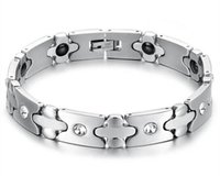 Wholesale Hot sell stainless steel chain magnetic CZ energy health care bracelet