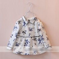 china clothes - Boutique Balck Side Lapel China Flower Printed Children Girls Shirts Long Sleeve Leisure Spring Baby Clothes Skirt Shirt White L2007