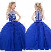 Wholesale Lovely Cheap Crystal Girls Dress Ball Gown Floor Length Crystal Organza Flower Girls Dresses Little Girl Party Gowns Girl s Pageant Dresses