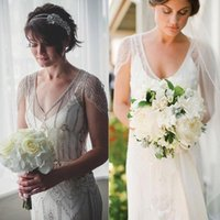 art deco wedding dresses - 2015 Jenny Packham Eden Style Wedding Gowns Sheath Open Back with Beaded Ovelay Art Deco Wedding Dresses Elegant Sneath Tea Party Dresses