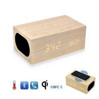 achat en gros de qi double-X5 origine QI Wireless Charging Bois Horloge Bluetooth Speaker de la technologie NFC, le Dual Charger USB, réveil, Température Téléphone mains libres DHL gratuitement