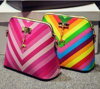 adorn fashion bags - new rainbow beauty fashion women bag Striped shells women handbag deer is hanged adorn shoulder bags women messenger bags