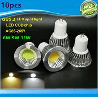 Wholesale New High Power Lampada Led MR16 GU5 COB w w w Dimmable Led Cob Spotlight Warm Cool White MR V Bulb Lamp GU V