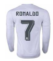 Mejor calidad de Tailandia 2015-2016 el Real Marid casa Fuera de fútbol de manga larga camisa de Jersey RONALDO JAMES CIUO BALE KROOS Fútbol