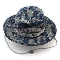 Wholesale 2014 New Military Wide Brim Camping Hiking Fishing Sun Hat Fashion Camo Cover Camouflage Bucket Cap