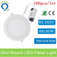 Cheap 100pcs lots 3w 4w 6w ultra thin led ceilling recessed grid downlight slim round panel painel led light bathroom kitchen room
