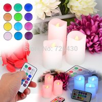 Wholesale New Party Wedding Christmas New Year Home Decoration Wireless Remote Control color Led Candle Light Flameless Lamps