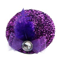 mini hat hair clip - 2015 Popular Color Bow Mini Top Hat Hair Clips Girls Kids Feather Rhinestone Hat Clip Wedding Party Hair Accessories