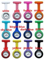 Wholesale Christmas Gifts Colorful Nurse Brooch Fob Tunic Watch Silicone Cover Nurse Watch Colors Free DHL Shipping