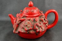 carved coral - Wonderful Handwork Coral Carving Chinese Immortal Beautiful Big Tea Pot gg077