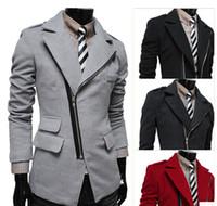 Men s woolen coat Preços-modelos primavera de outono e inverno 2015 dos homens irregulares oblíquas emblemas de lapela bolso com zíper de lã casaco casaco homens jaqueta, @ D78
