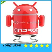 Wholesale Google Android Robot Mini Speaker Speakers W USB Cable for iPhone Note S4 Tablets PC Notebook Mobile Phones