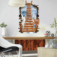 aerial ladders - 3D Creative Sky Aerial Ladder Removable Home House Decoration Art Decal Wall Sticker Poster