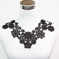 Wholesale Flower Motif Black Polyester Neck Collar Lace Trims Dress Decor Sewing Craft order lt no tracking