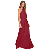 chiffon maxi dresses - Sexy Women Summer Mint Sleeveless Halter Pleated Boho Maxi Party Long Dress Beach Chiffon Dress Plus Size S XL Colors