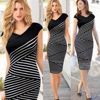 Wholesale High quality women stripe bodycon office dress sleeveless black and blue pencil dress OEM service WD100