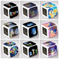 Wholesale 100PCS HHA262 Lovely styles Inside Out Alarm Clock MultiColor Cute Cartoon LED Clock Students Clock Inside Out digital clock